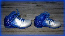 SHAQ TODDLER BOYS 10.5 BLUE & SILVER ATHLETIC SHOES *GUC* LACE UP MID-TOP