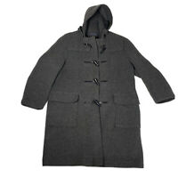 Gloverall Duffle Women's Toggle Button Wool Coat Hooded Grey Sz Large England