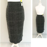 M&S Midi Skirt 12 Grey MOHAIR BLEND Elastic Waist Work Office Formal Check NEW