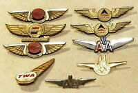 LOT OF 9 Vintage Airline Pins Junior Future Stewardess Hostess TWA DELTA AA More