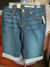 DKNY 12  JEAN BERMUDA CUFFED SHORTS  NEW