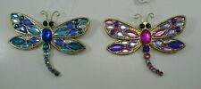 c 2x JEWEL RADIANT blue purple DRAGONFLY ORNAMENT crystal expressions twin Ganz