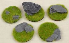 Handcrafted Miniature 30mm Bases Static Grass & Slate x 5 Warhammer Warlord FOW