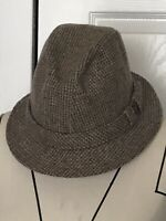 Men's Country Gentleman Trav'ler Tan Tweed Fedora Hat Size Medium