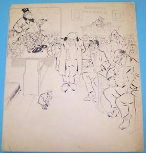 """TANNER Original Art Political Cartoon """"Council Chamber"""" 1907"""