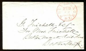 USA Providence RI c1851 Stampless Cover to Boston. 5c Rate       (p2212)