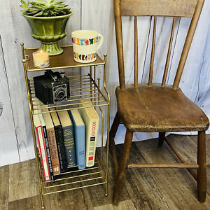 Vintage Gold METAL Mid Century Modern Atomic 3 Tier PLANT STAND side table
