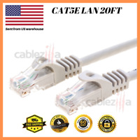 CAT5E Cable Network Ethernet Router LAN 20FT Switch Patch Cord Gray Ship From US