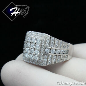 MEN 925 STERLING SILVER ICY DIAMOND SQUARE BLING RING SIZE 7-12*SR153