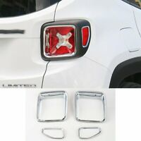 Chrome ABS Car Rear Tail Light Lamp Cover Trim For Jeep Renegade 2015-2017 4pcs