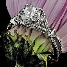 1.45 CT ROUND CUT DIAMOND HALO ENGAGEMENT RING 14K WHITE GOLD ENHANCED