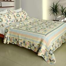 3 Pc Halcyon Harmony floral patchwork 100% Cotton Vermicelli Queen Quilt Shams