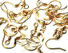 (10pr) 22k Gold Plated 17mm Fish Hook Earring Hooks Jewelry