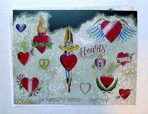 Tattoo Flash 2010 Set of 3 with Line Art Hearts Roses Dagger by Cuz'n Bill Loren
