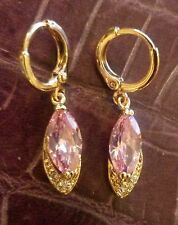 F13 Pink marquise sapphires 18K gold gf huggie hoop dangle earrings BOXED PlumUK