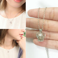 Silver Plated Oyster Pearl Cage Princess Crown Locket Necklace Stainless Chain
