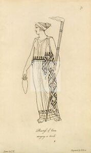 ANTIQUE Ancient Roman Mythology Print - Priestess of Ceres #F120