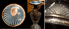 New listing Antique F&B 1923 Sterling Silver Guilloche Enamel Vanity Set Jar Perfume Bottle