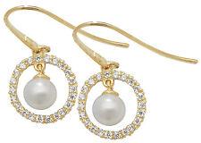 oro 9 carati giallo da donna GANCIO perla zircone cubico Orecchini a goccia