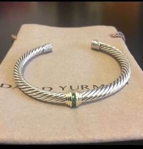 David Yurman Silver/14k Gold Classic Renaissance Emerald 5mm Cuff Bracelet