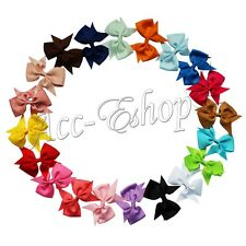 20pcs lot Girls Baby Hair Bows Alligator Clip Grosgrain Ribbon Flower Headbands