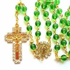 Rosary green Glass prayer beads rosary  - CATHOLIC Rosary Crucifix Necklace