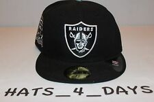 New Era Oakland Raiders Black White Silver Logo NFL Fitted Hat New Sz 7 3/8