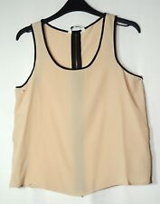 BEIGE BLACK TRIM LADIES CASUAL PARTY TOP BLOUSE SIZE 8 NEW LOOK