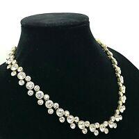"LOFT Heavy BronzeTone Thick Setting Shiny White Rhinestone Crystals 17"" Necklace"