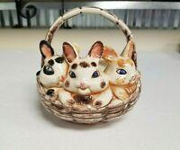 Ceramic 3 Easter Bunny Rabbit Basket Planter Dish Atlantic Mold - Vintage   gcab