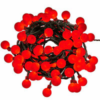 160 RED BERRY CHERRY CHRISTMAS TREE LIGHTS 20m MAINS INDOOR OUTDOOR DECORATIONS