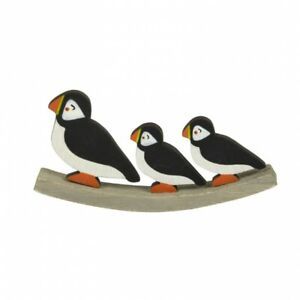 Wooden Puffin & Chick on Sea-Saw Wood Carving Bird Watchers Gift - FAST POST