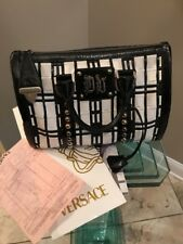 Donatella Versace Handbag Black & White Patent Leather / Studded / Silver Gold