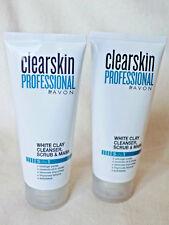 AVON CLEARSKIN PROFESSIONAL WHITE CLAY CLEANSER, SCRUB & MASK 5-IN-1 ~  75ml x 2