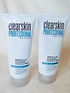 AVON 2 x CLEARSKIN PROFESSIONAL WHITE CLAY 3-IN-1 SCRUB/MASK/CLEANSERS 75ml each