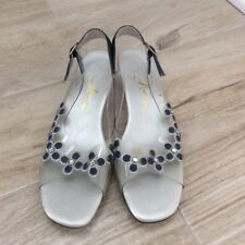 Vtg 60s Arnie Clear Lucite Denim Daisy Sandals
