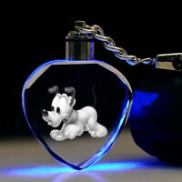 Lovely pluto dog LED Key Chains crystal Bling key chain love gift new