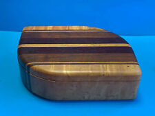 Vtg Collectible MCM Tri Wood Swing Top Felt Lined Valet Box Trinket/Jewelry Box