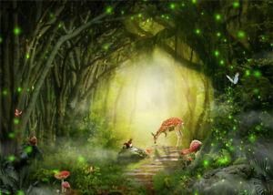10x8ft Vinyl Photo Background Fairy Tale Forest Trees Path Deer Studio Backdrop