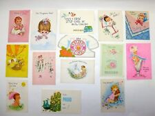 VINTAGE 1960'S BABY GIRL MINI ANNOUNCEMENT CARDS HALLMARK GIBSON LOT OF 14