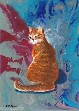"""Original Small Abstract Painting of Cat """"Tigerlily"""", Ginger Cat Art"""
