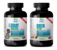 energy boost for women - GRAY HAIR - GREEN TEA COMBO 2B - nettle capsules organi