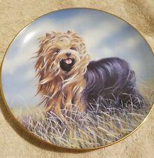 "Danbury Mint Yorkshire Terrier Dog Plate ""Windswept"" By Paul Doyle"