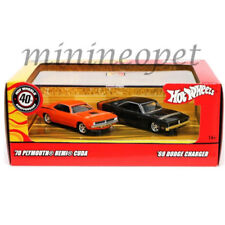 HOT WHEELS M2260 40TH ANNIVERSARY 70 PLYMOUTH HEMI CUDA & 69 DODGE CHARGER 1/64