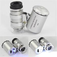 Mini 60x Loupe Microscope DEL identifier Bijoux Caisse Portable Violet clair