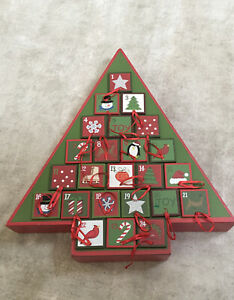 "15"" Wood Advent Christmas Calendar Tree 24 Drawers Red Green White Stand Up"