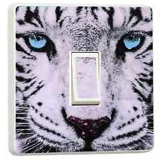 Stunning Close up white tiger blue eyes light switch sticker (37480445)