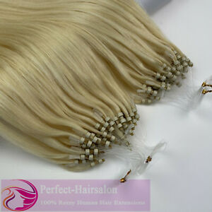 1G/S Micro Loop Nano Ring Beads/Link Remy Human Hair Extensions Thick Pre Bonded
