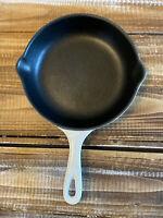 """Le Creuset Cast Iron Skillet Pan White Double Spout #20 France 8.25"""""""