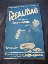 Partition Realidad Primo Corchia Por Dios André Montals 1959 Music Sheet